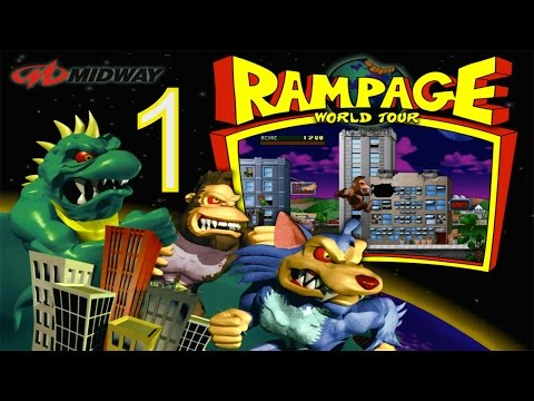 Rampage World Tour - Part 1 - Classic PS1 Arcade Video game
