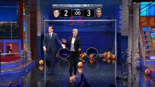 stephen challenges abby wambach to a kick off