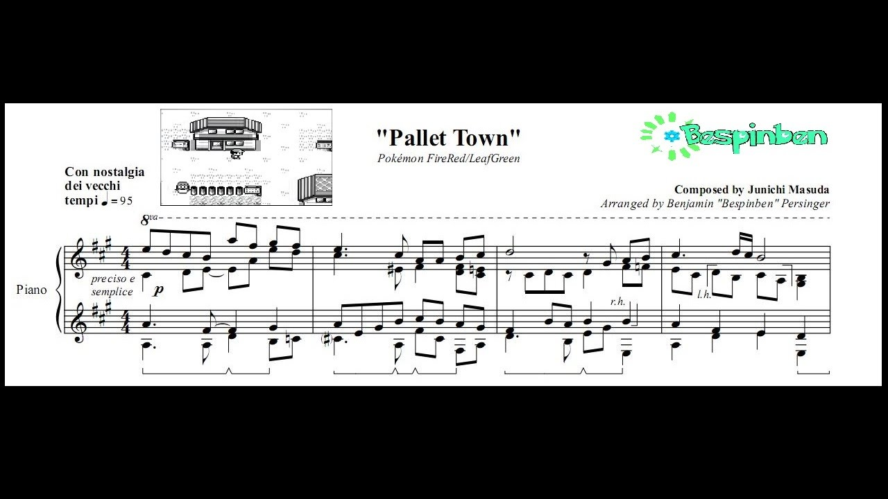 Pok 233 Mon Firered Leafgreen Quot Pallet Town Quot Piano Sheet Music Youtube