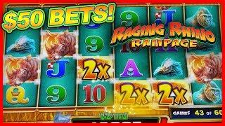 MASSIVE $50 HIGH LIMIT BETS! ★ RAGING RHINO RAMPAGE ➜ BIG WINS!