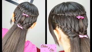 Combo Braids: Waterfall into French | Braided hairstyles | Easy hairstyles  | Hairstyles for School