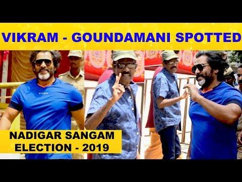 Chiyaan Vikram and Goundamani Cast their Votes | Nadigar Sangam Election 2019 | Pandavar Ani | Viral