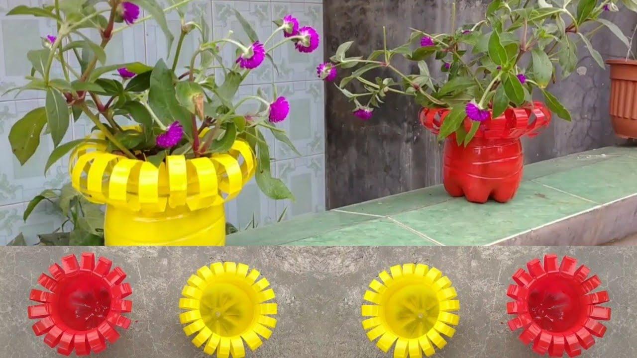Cara Membuat Pot Bunga Dari Botol Bekas Youtube Pot tanaman dari botol bekas