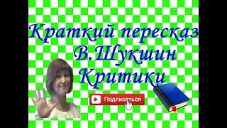"Краткий пересказ В.Шукшин ""Критики"""