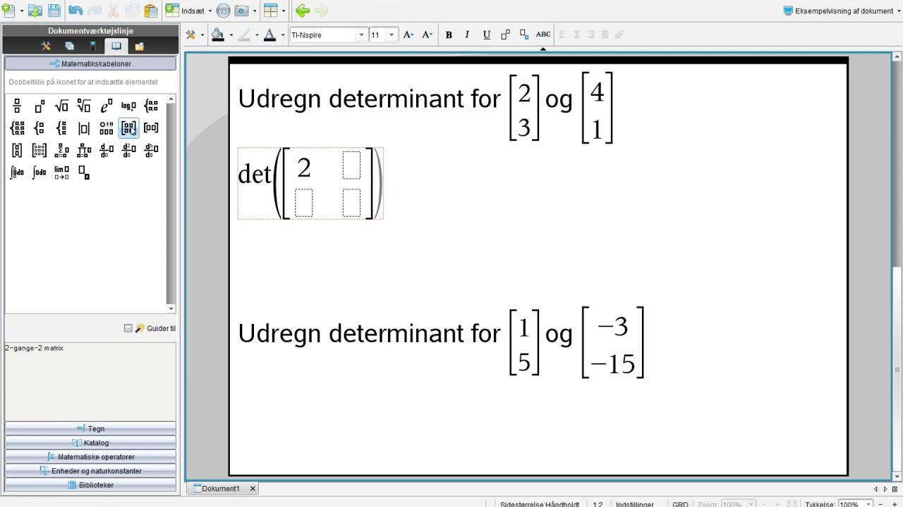 Udregning af determinant i Nspire