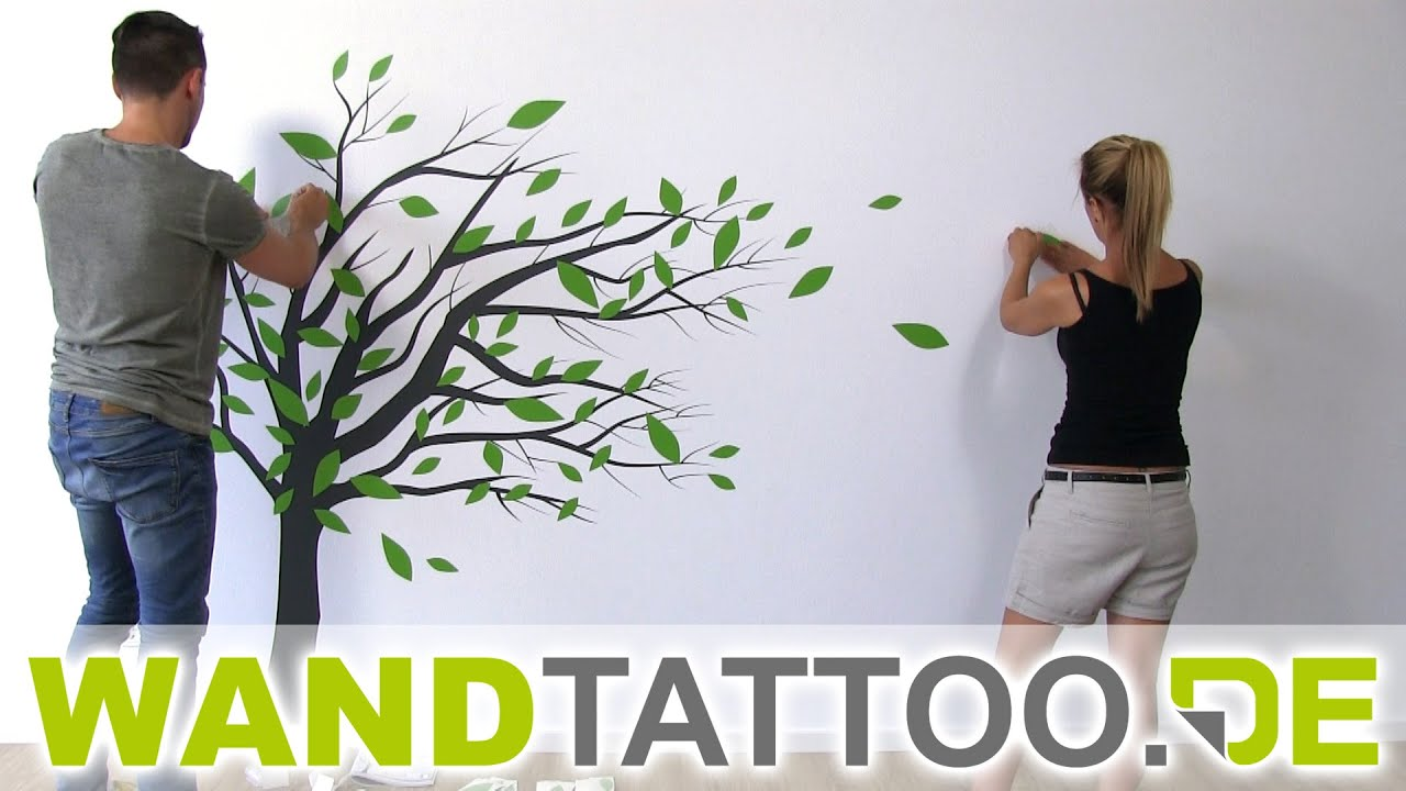 wandtattoo baum im wind anleitung zum anbringen youtube. Black Bedroom Furniture Sets. Home Design Ideas