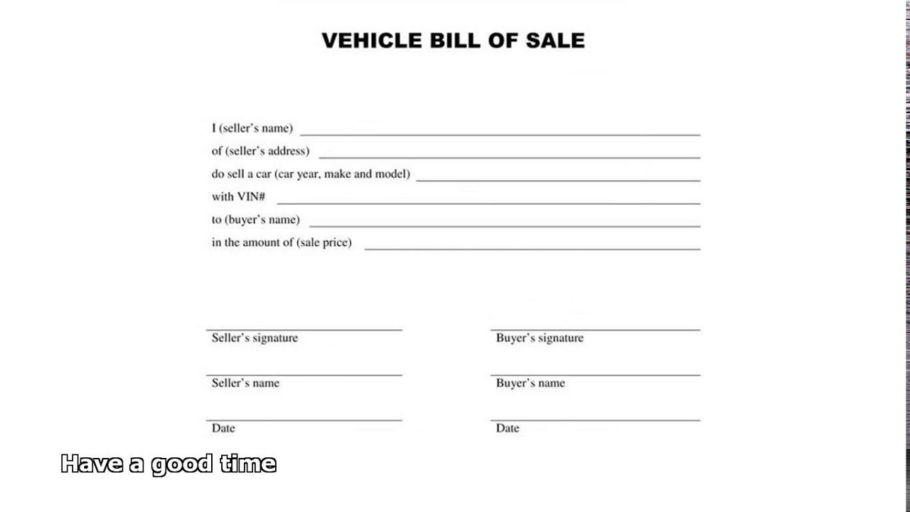 bill of sale car YouTube – Bill of Sale for Car