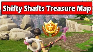 """""""Follow the treasure map found in Shifty Shafts"""" Location Fortnite Week 9 Challenges (BATTLE STAR)"""