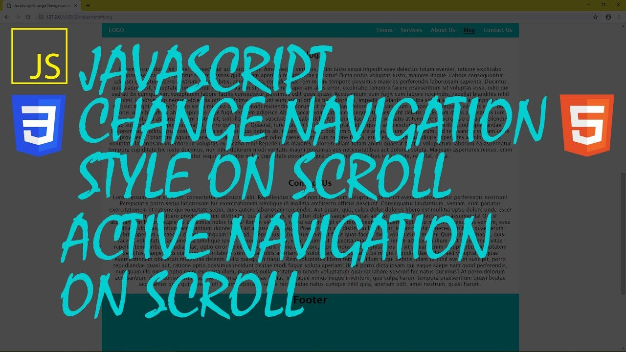 JavaScript-Change Navigation Style On Scroll | Active Navigation On