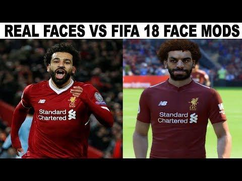 20 FACE MODS VS REAL LIFE FACE ||  MO SALAH, DEMBELE, || FIFA 18 MODS BY IYASZAEN