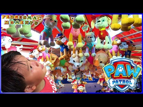 Paw Patrol Stuffed and Plush Pup Toys Prizes at Prudential Marina Bay Carnival Roll Down Game