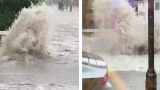 London flash floods: Manhole explodes with water during heavy rain