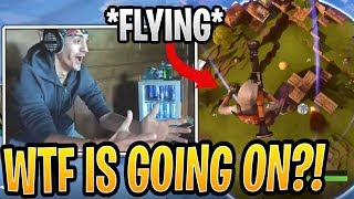 Ninja Reacts to *NEW* FLYING Glitch at The No Gravity Rune! - Fortnite Best and Funny Moments
