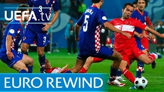 EURO 2008 highlights: Turkey beat Croatia on penalties(Watch the best moments from a dramatic quarter-final where Turkey came back from the dead to win on penalties after conceding with just a minute remaining of ..., 2016-05-05T10:23:57.000Z)