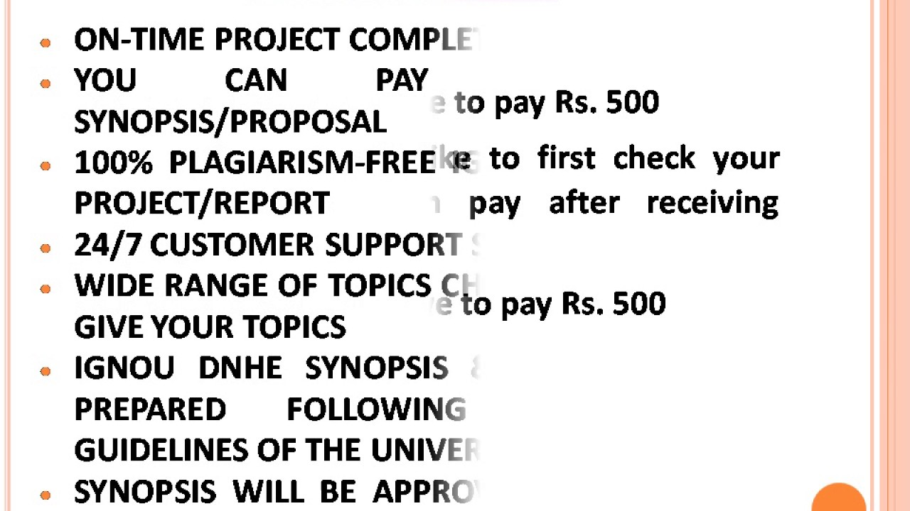 Ignou Dnhe Synopsis Project Report Youtube
