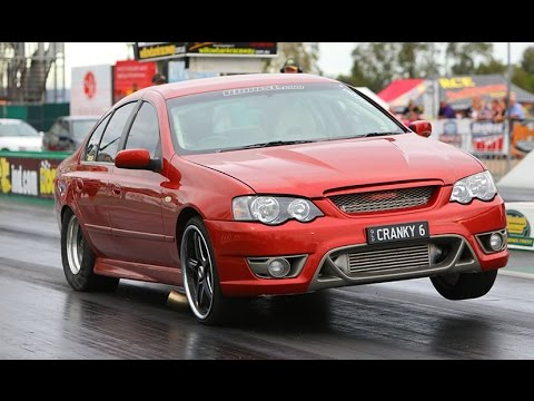 mental 800 hp 8 sec barra powered cranky 6 bf falcon street car  mental 800 hp 8 sec barra powered cranky 6 bf falcon street car