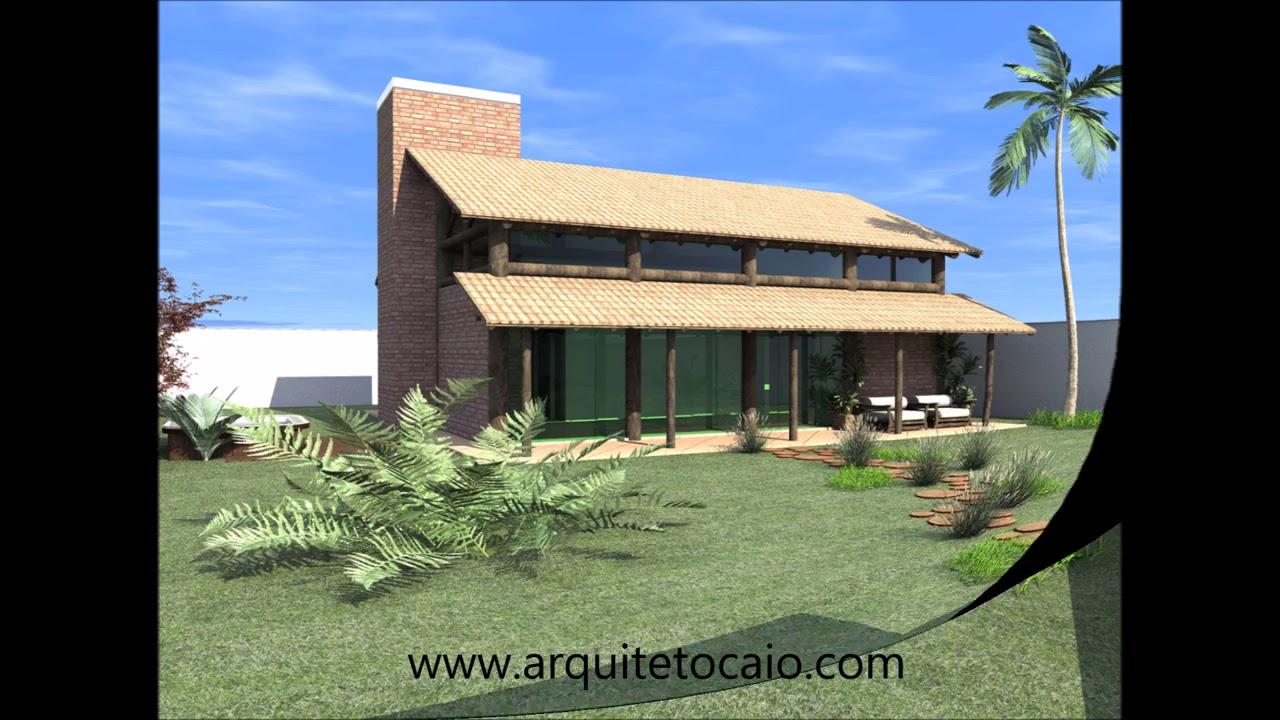 Projeto casa residencia rustica tijolinho telhado ceramica for Casas de campo rusticas