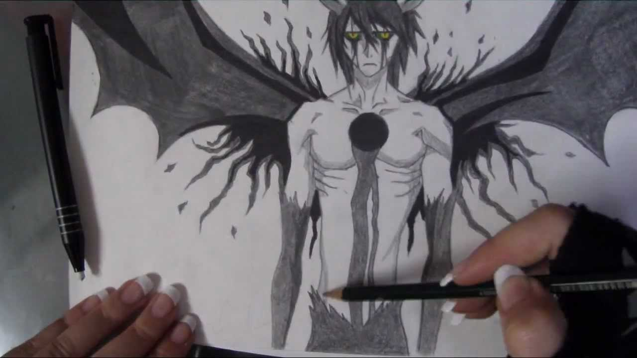 Speed drawing of ulquiorra hollow form (bleach) - YouTube
