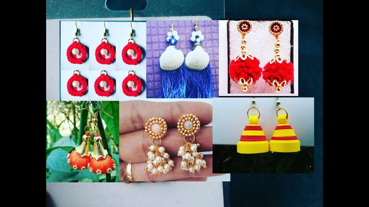 Different types of earring designs l earrings l simple and easy ...
