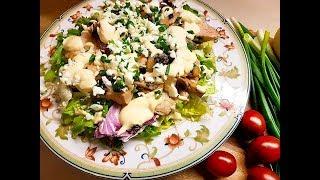 Салат из индейки с грибами под яично--йогуртовым соусом
