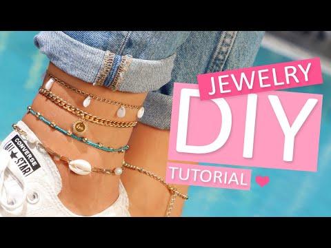 DIY tutorial - Fußketten mit Muschelanhängern designen