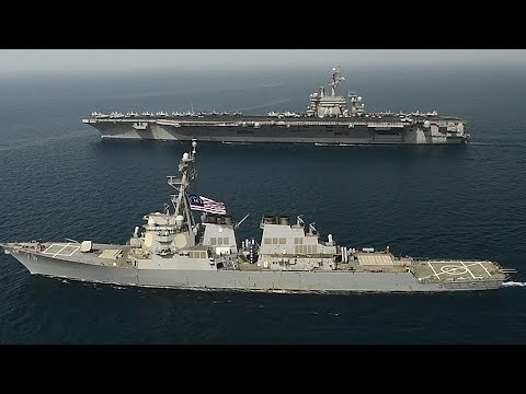 Glorious AERIAL FOOTAGE as SUPERCARRIER USS Roosevelt transits Arabian Gulf with USS Higgins!