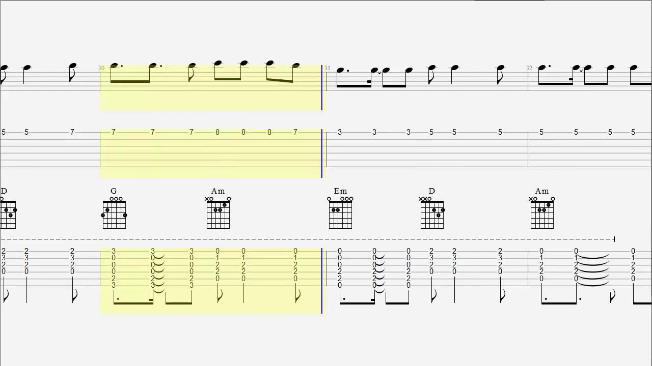 Guitar Tab Chords My Way Calvin Harris Acoustic Cover Youtube
