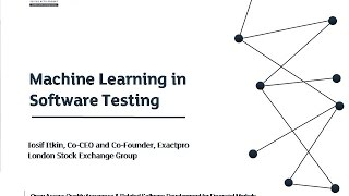 EXTENT-2016: Machine Learning and Software Testing