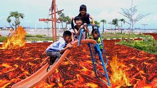 #2 The Floor Is Lava Challenge di Outdoor Playground Park for Kids Pretend Play Taman Bermain Anak