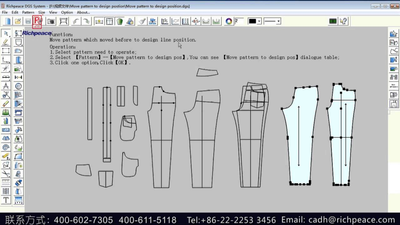 How To Move Pattern To Design Position In Richpeace Garment Cad Software By Richpeace Group