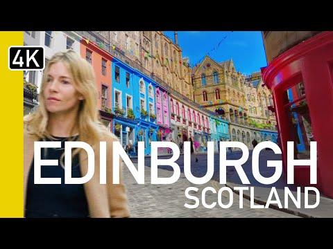 [4K] Edinburgh, Scotland (2019) Evening Walking tour of City Centre
