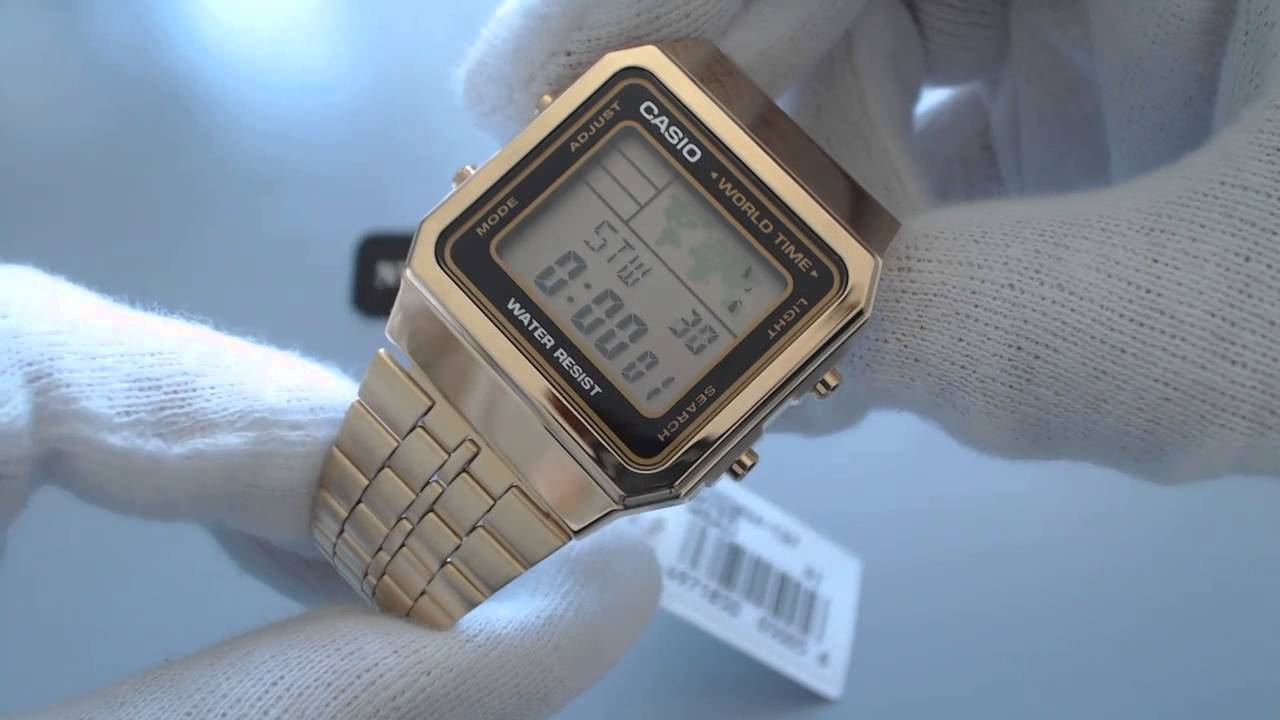 35599f0abfa Men s Gold Tone Casio World Time Stainless Steel Watch A500WGA 1 ...