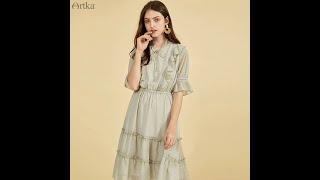 Женское винтажное шифоновое платье artka элегантное длинное с оборками и поясом на резинке модель