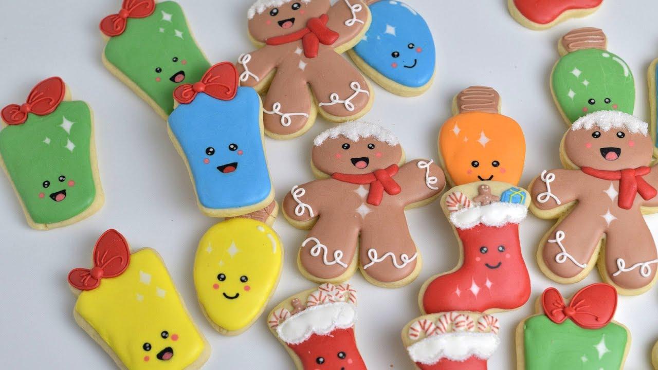 How To Decorate KAWAII CHRISTMAS COOKIES by HANIELA\'S - YouTube