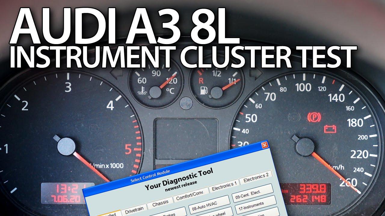 Audi a3 8l test instrument cluster outputs vcds car diagnsotics youtube