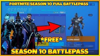 FORTNITE SEASON 10 FULL BATTLE PASS & SEASON 10 SKINS | FORTNITE SEASON 10 ALL UNLOCKS ON BATTLE PASS