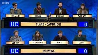 University Challenge S45E12 - Clare College, Cambridge, vs University of Warwick