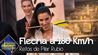 Pilar Rubio intenta cortar una flecha a 180km/h - El Hormiguero 3.0