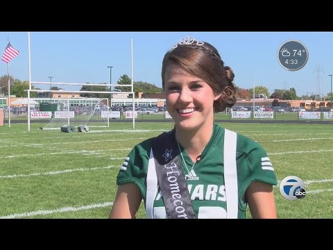 She's on Allen Park High School's Homecoming court and the kicker on the football team