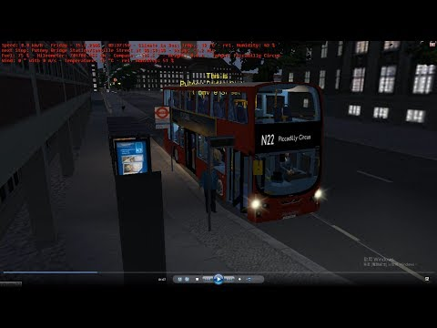 omsi 2 tour (1152) London bus N22 Barnes Pond - Piccadilly Circus @ volvo B9TL