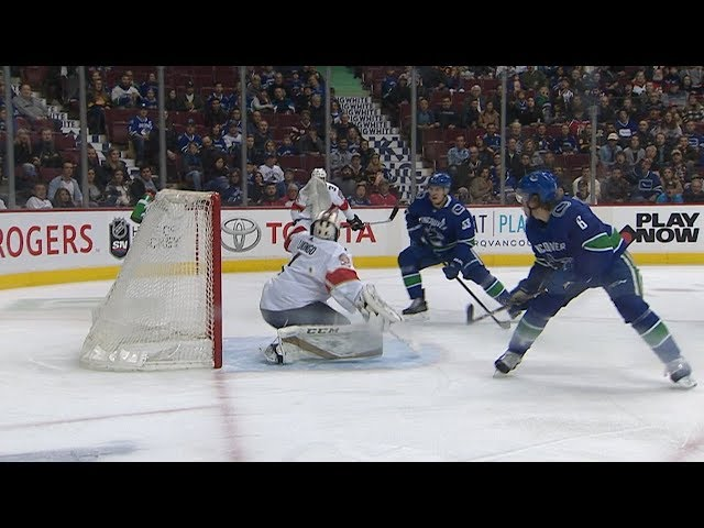 Roberto Luongo flashes the glove to rob a goal from Boeser