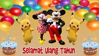 Selamat Ulang Tahun Lagu Anak Bersama Badut Disney Mickey Mouse - Pokemon -  Pororo - Spongebob