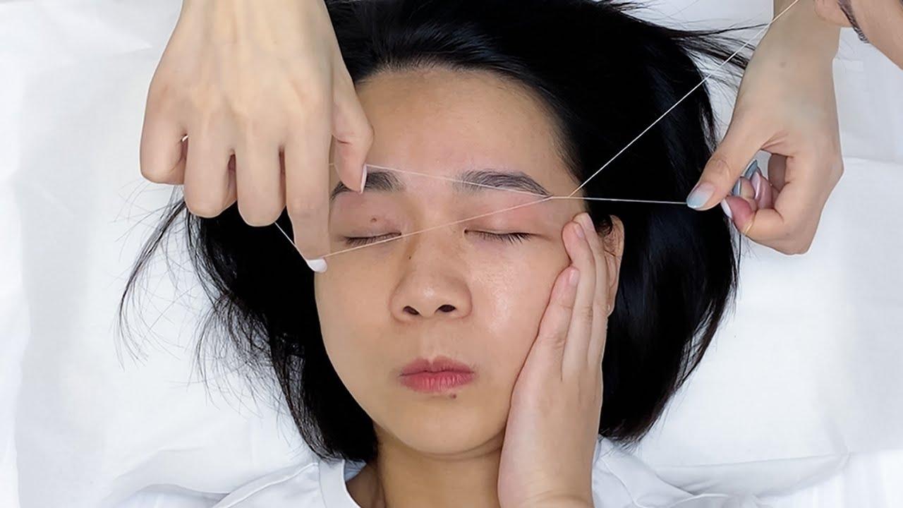 ASMR 눈썹 뽑기,손털 뽑기, 눈썹 다듬기 Perfect eyebrow threading