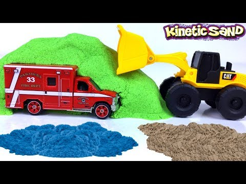 MIGHTY MACHINES AT THE JOBSITE REVEALING RESCUE VEHICLES EMERGENCY WORKERS WITH KINETIC SAND & ROCK