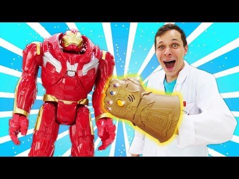 Видео про игрушки. Игры в больницу. Злодеи на приеме Доктора Ой. Видео для мальчиков про супергероев