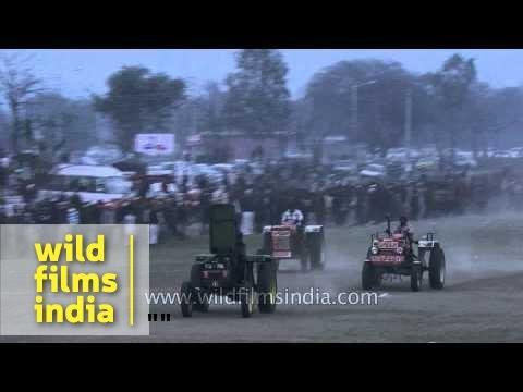 Tractor racing competition at Rural Olympics - Ludhiana, India