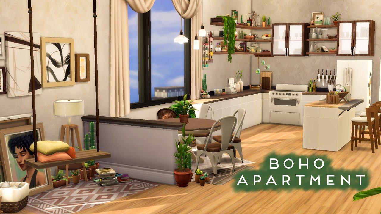 BOHO APARTMENT   No CC Sims 4 Speed Build - YouTube