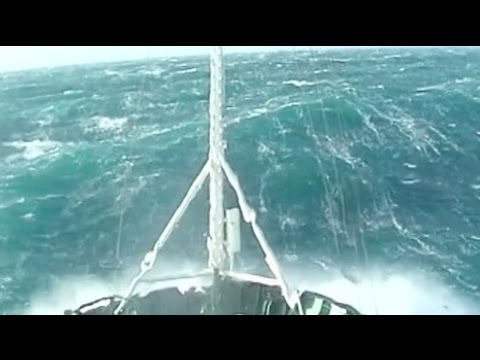A tug boat in a 12 strength ! rogue wave