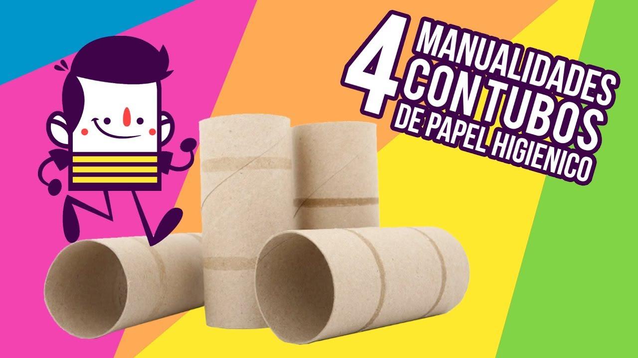 4 Manualidades Reciclando Rollos De Papel Higiénico Súper Fácil Youtube