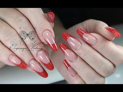 Наращивание ногтей красный френч